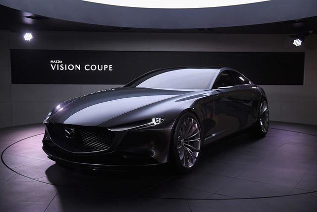 TOKYO, JAPAN - OCTOBER 25: Mazda Vision Coupe is displayed at the Mazda Motor Co booth during the Tokyo Motor Show at Tokyo Big Sight on October 25, 2017 in Tokyo, Japan. (Photo by Koki Nagahama/Getty Images for Mazda Motor Co)